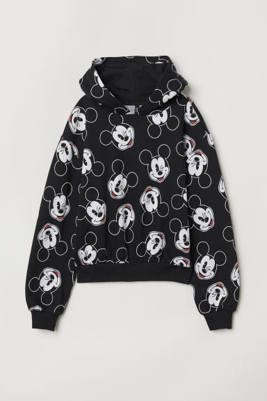 Hooded top with ears - Black/Mickey Mouse -  | H&M