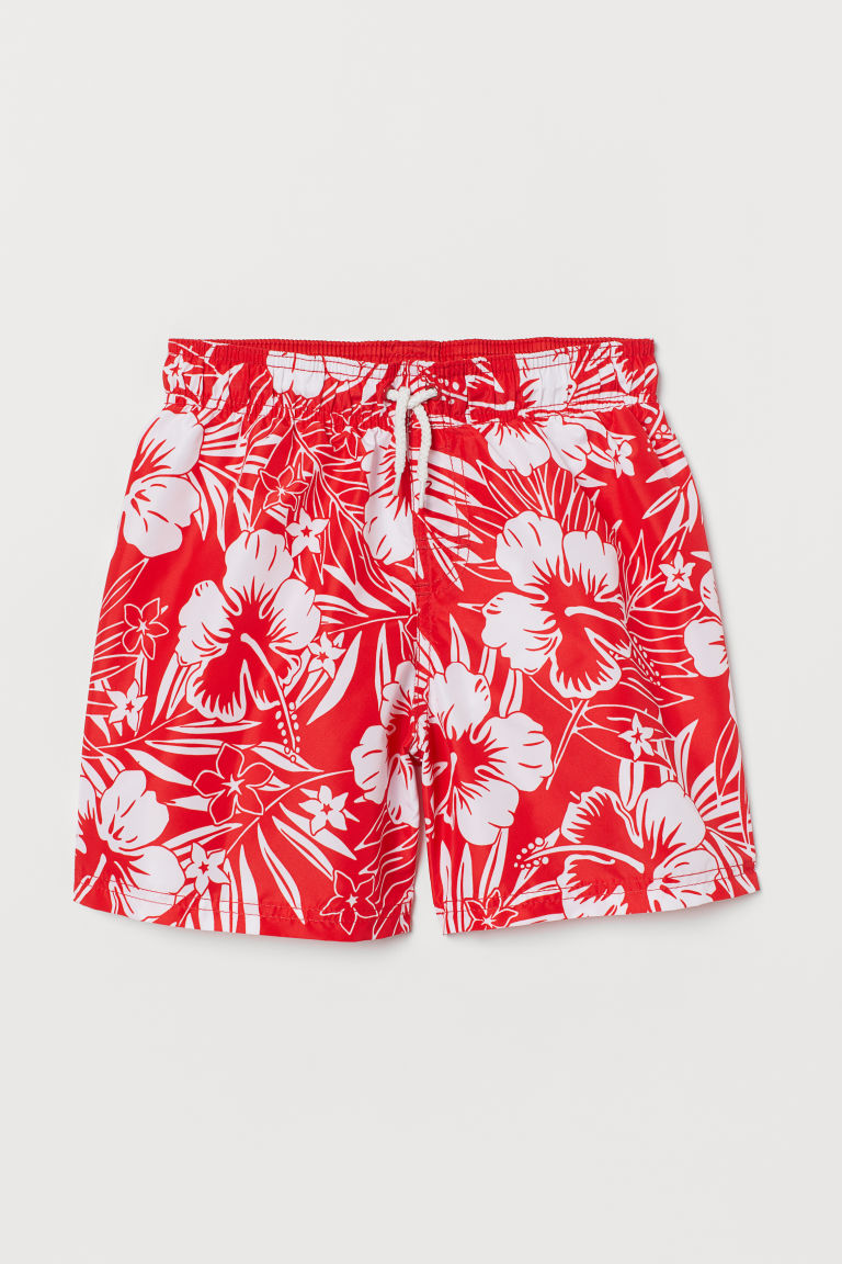 Swim shorts - Red/Floral - Kids | H&M