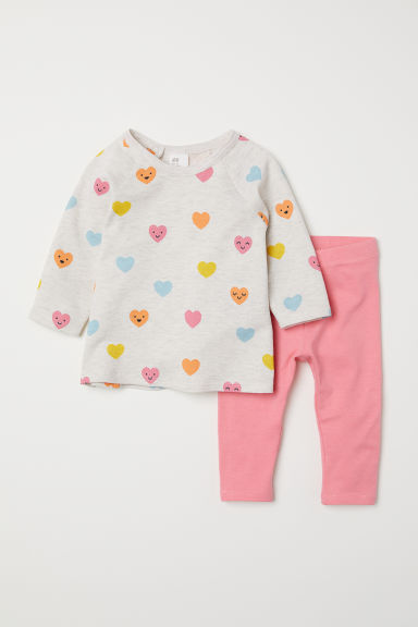 Top and leggings - Light beige/Hearts - Kids | H&M CN