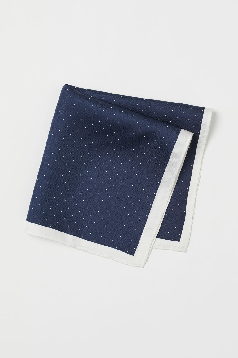 Silk handkerchief - Dark blue/Spotted - Men | H&M