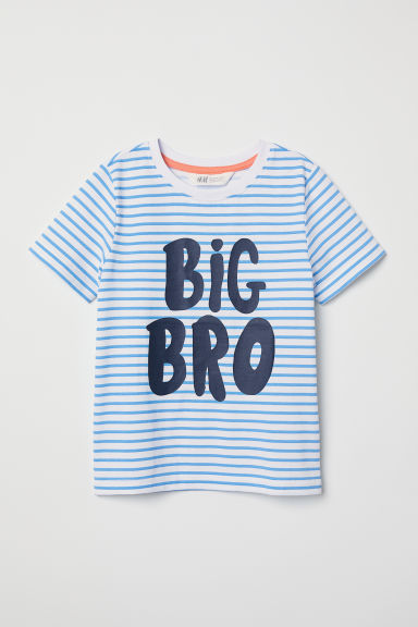 Short-sleeved sibling top - White/Big Bro - Kids | H&M CN