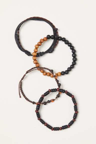 4-pack bracelets - Dark brown - Men | H&M