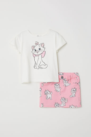 T-shirt e gonna in twill - Bianco/Aristogatti - BAMBINO | H&M IT