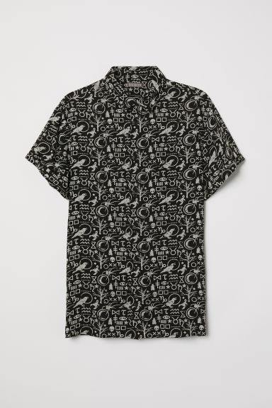 Short-sleeved shirt - Black/Patterned - Men | H&M