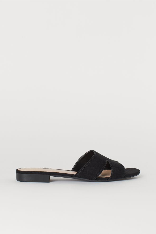 fe7337db266f Sandaler med lav hæl - Sort - DAME