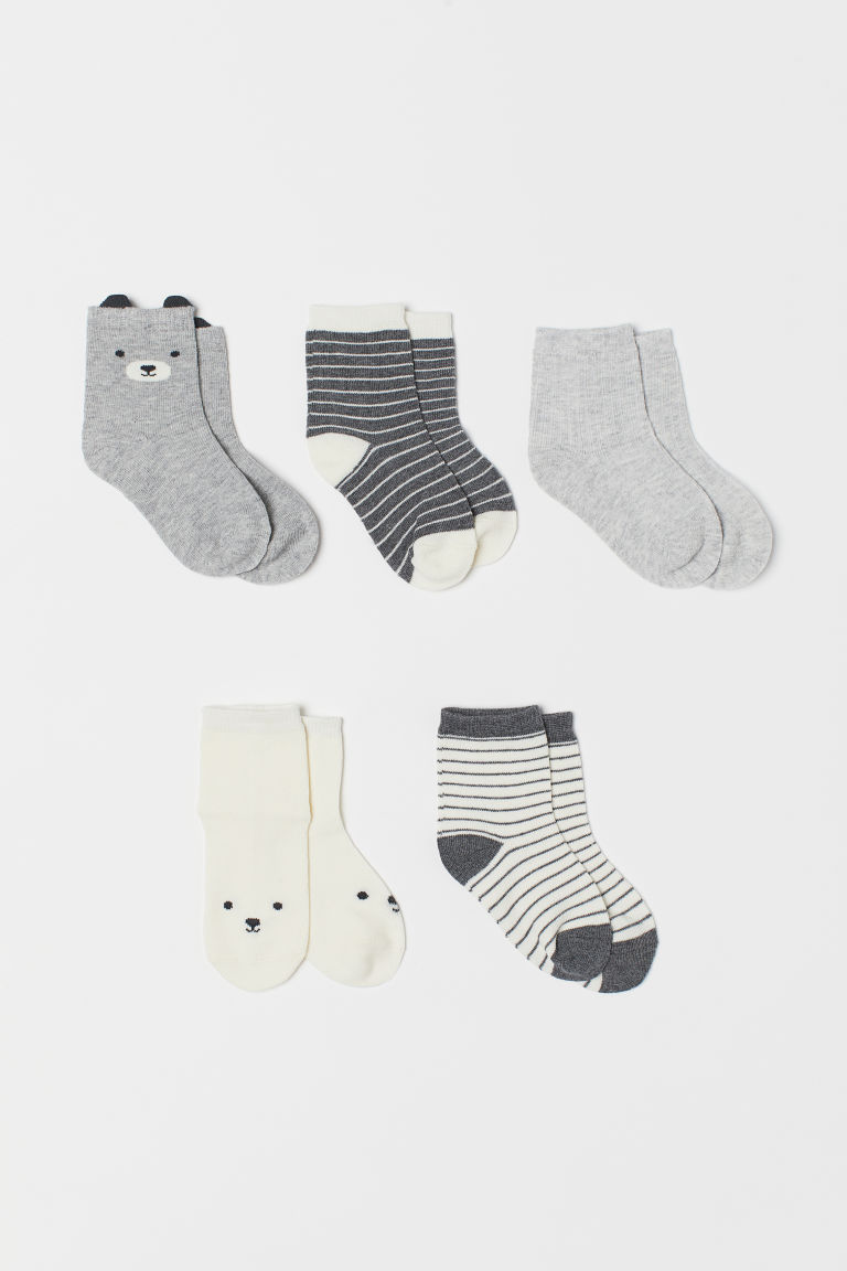 5-pack socks - Grey marl/Bear - Kids | H&M CN