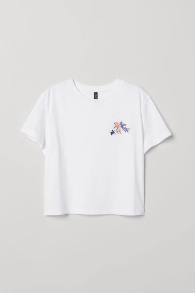Wide T-shirt - White/Roses - Ladies | H&M