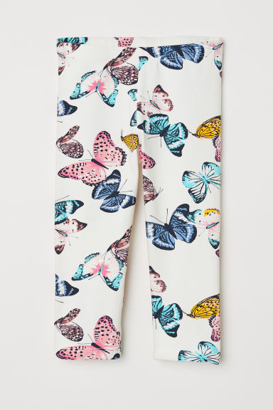 3/4-length jersey leggings - Natural white/Butterflies - Kids | H&M CN