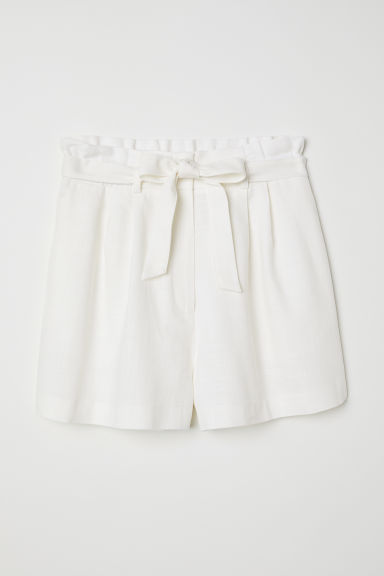 Paper bag shorts - White - Ladies | H&M CN