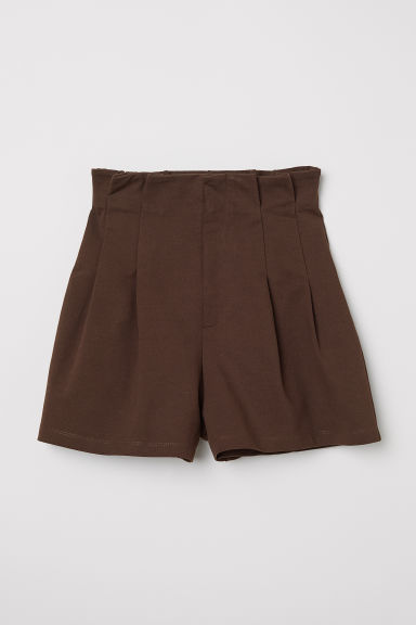 Paper bag shorts - Dark brown - Ladies | H&M CN