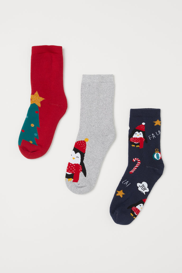 3-pack terry socks - Silver-coloured/Penguin - Kids | H&M IE