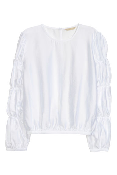 Crinkled top - White -  | H&M CN