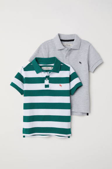 2-pack polo shirts - Green/White striped - Kids | H&M CN