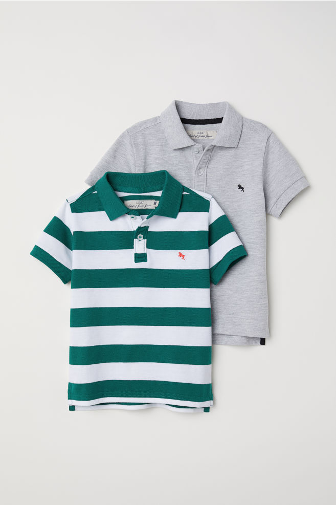 dc08d9d1 2-pack Polo Shirts – Green/white striped – Kids | H&M …