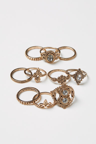 10-pack rings - Gold-coloured - Ladies | H&M CN