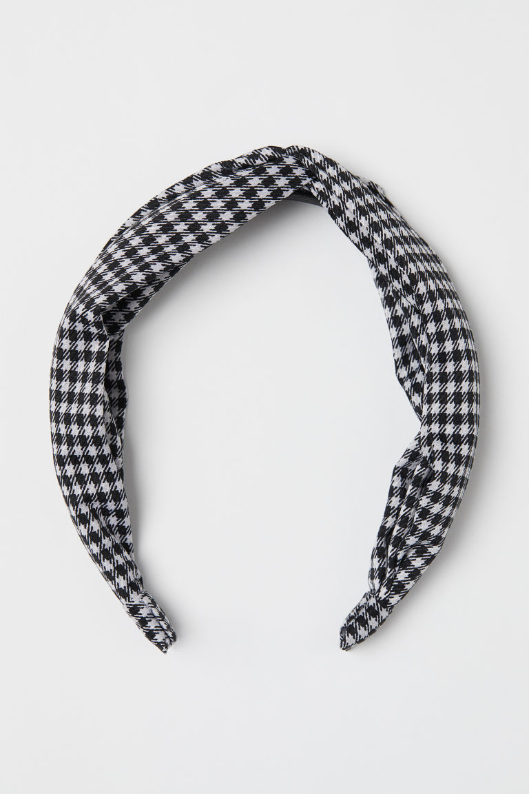 Alice band with a knot detail - White/Dogtooth-patterned - Ladies | H&M CN