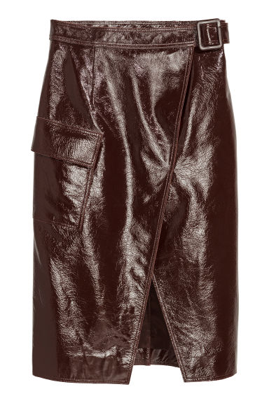 Coated leather skirt - Brown - Ladies | H&M