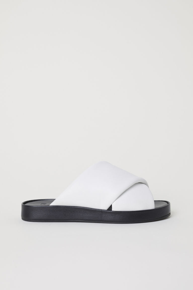Leather sandals - White - MUJER | H&M ES