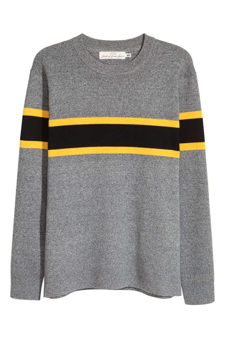 Fine-knit cotton-blend jumper - Grey marl - Men | H&M IE