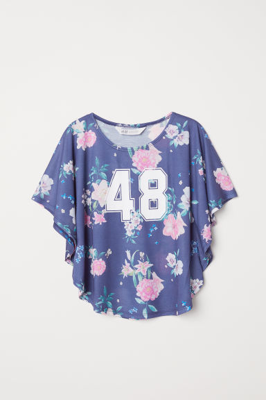 Wide printed top - Dark blue - Kids | H&M