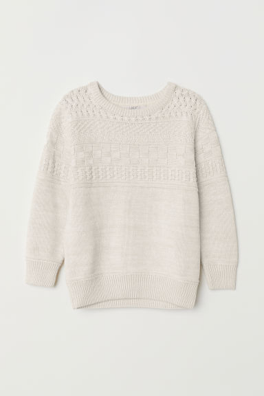 Textured-knit jumper - Light beige marl - Kids | H&M