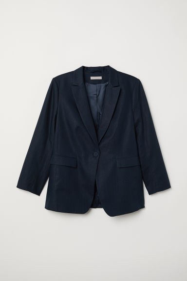 H&M+ Linen-blend jacket - Dark blue - Ladies | H&M CN