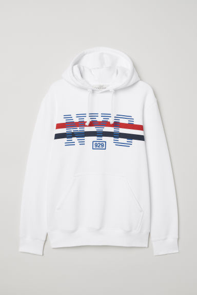 Hooded top with a motif - White/NYC - Men | H&M