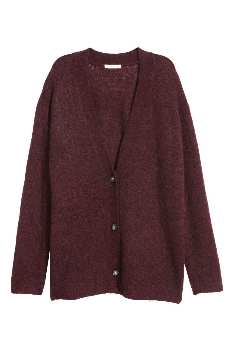 Mohair-blend cardigan - Burgundy - Ladies | H&M CN