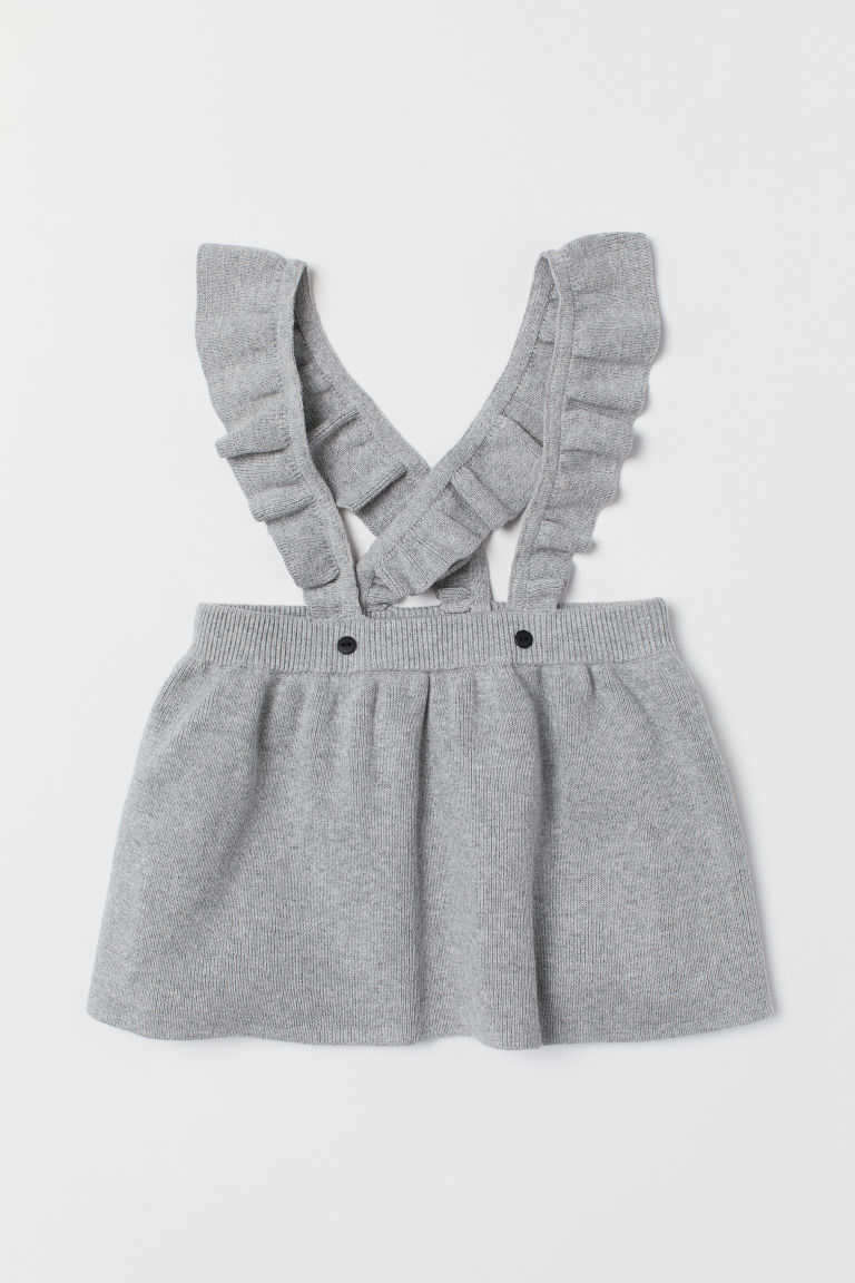 Fine-knit skirt with straps - Light grey marl - Kids | H&M CN