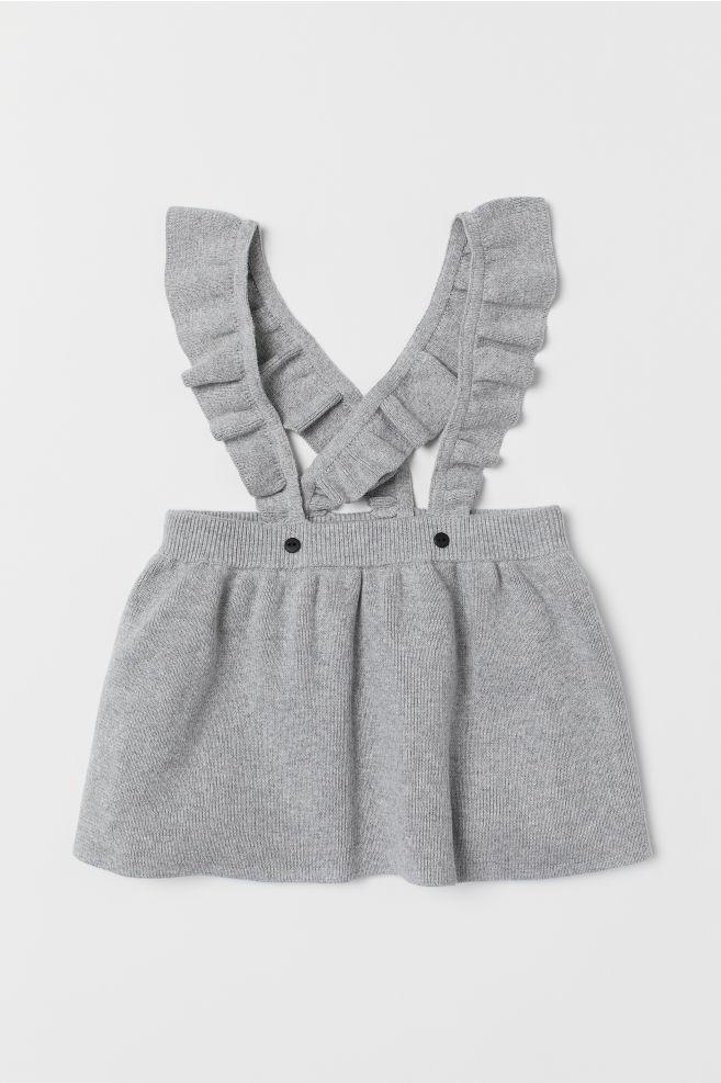 580d4527d67e Fine-knit Skirt with Straps - Light gray melange - Kids