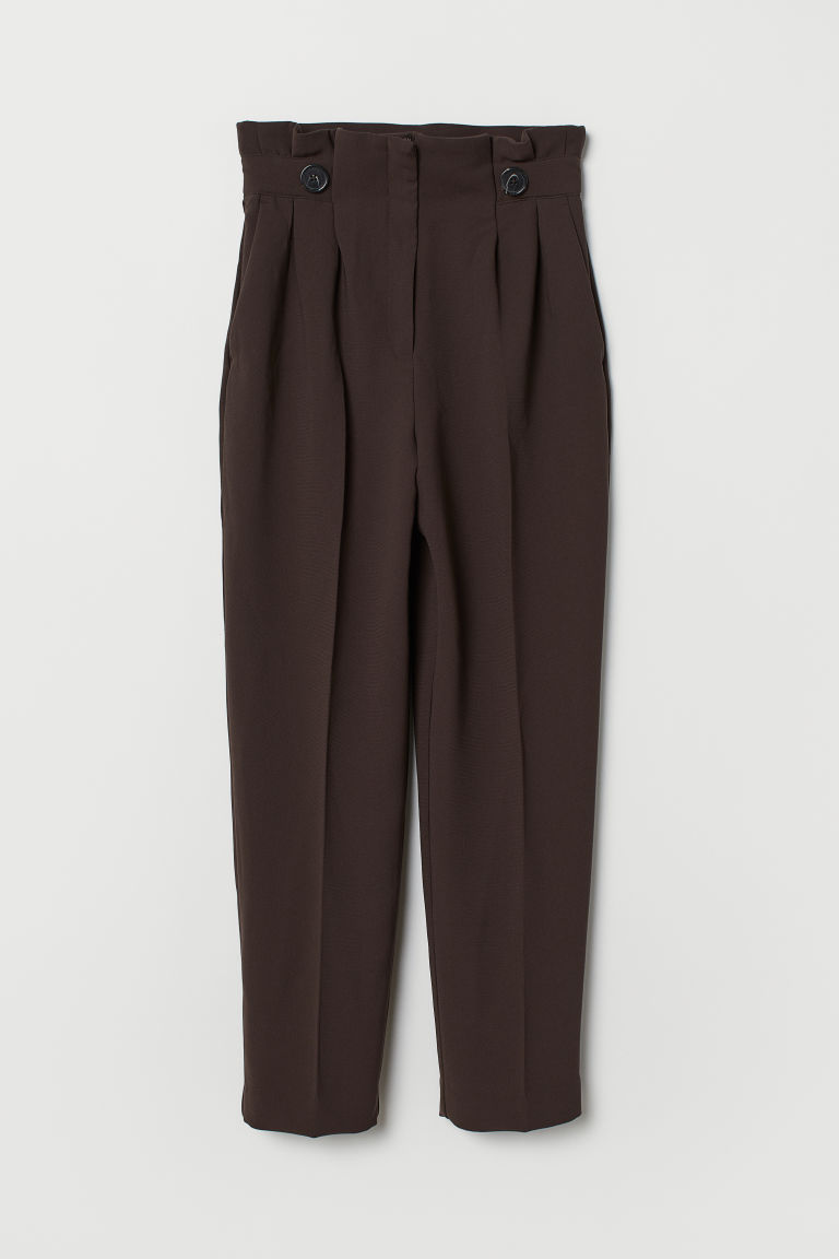 Paper bag trousers - Dark brown - Ladies | H&M CN