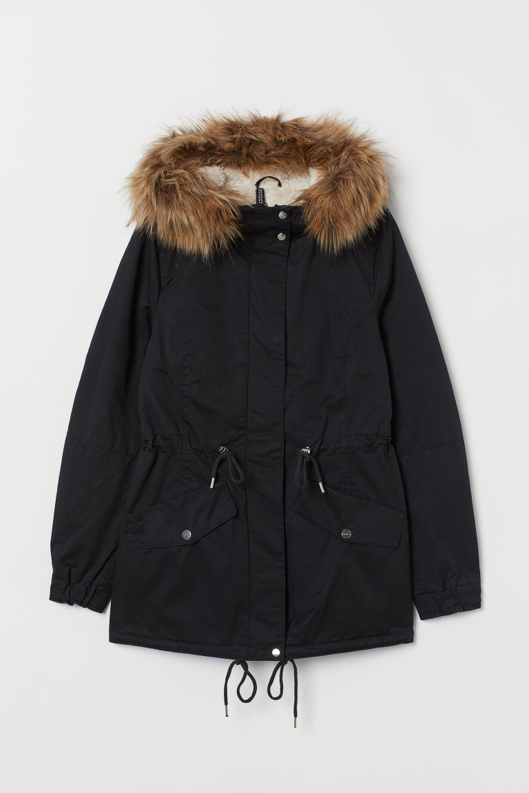 Pile-lined Parka - Black - | H&M US 1