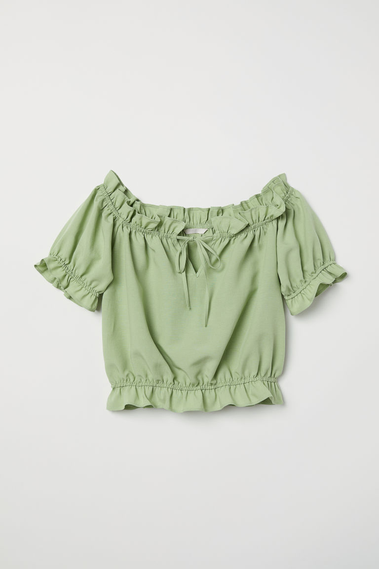 Off-the-shoulder blouse - Light green - Ladies | H&M