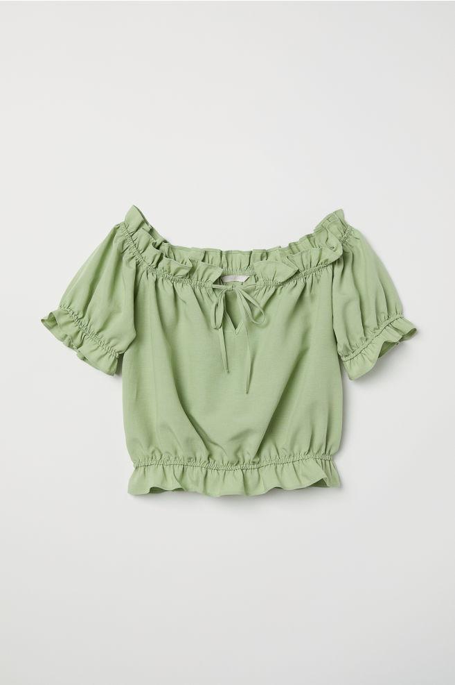 0ce7c0175f7fc Off-the-shoulder blouse - Light green - Ladies