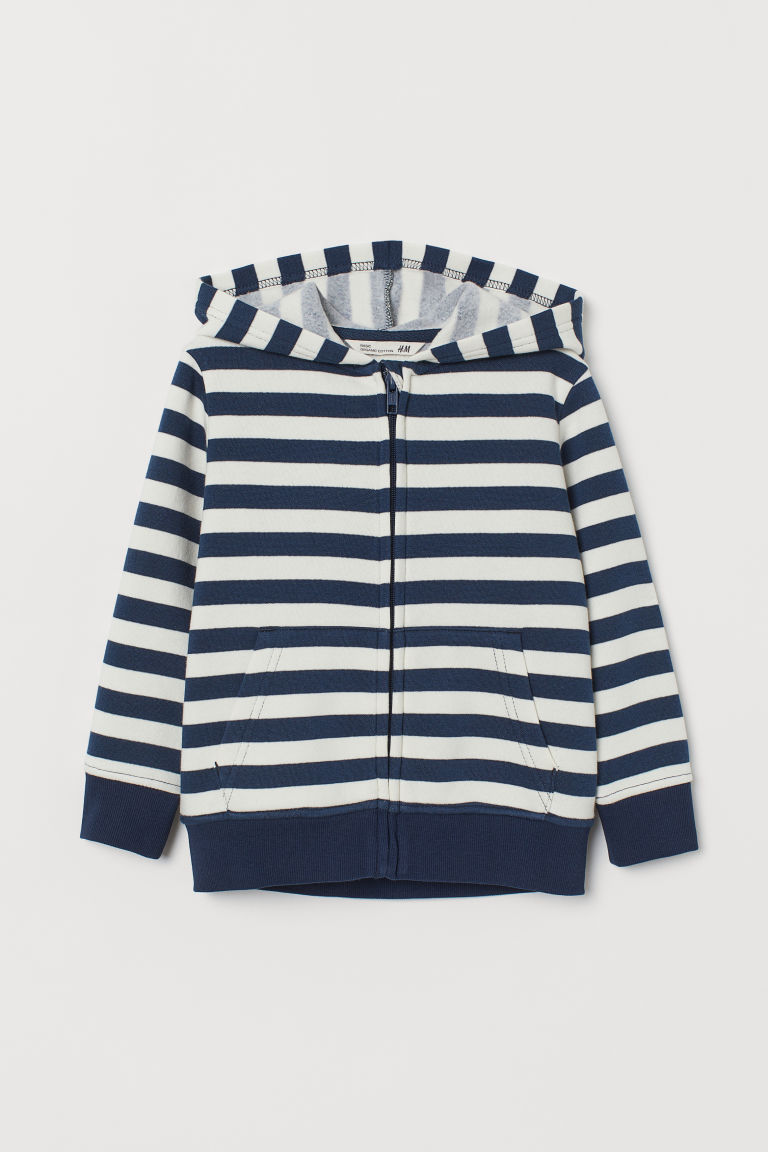 Kapuzenjacke - Weiß/Blau gestreift - Kids | H&M AT