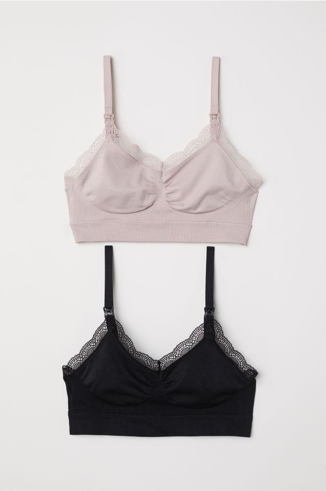 475c32f90ea MAMA 2-pack soft nursing bras - Powder pink Black - Ladies