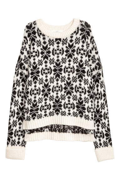 Jacquard-knit jumper - White/Black patterned - Ladies | H&M CN