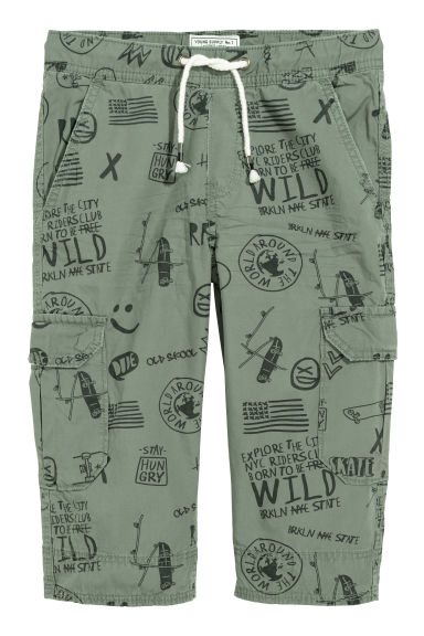 Long cargo shorts - Green/Patterned - Kids | H&M