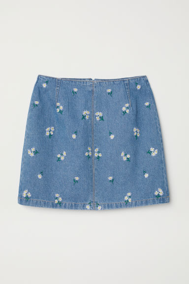 Denim skirt with embroidery - Denim blue/Floral - Ladies | H&M