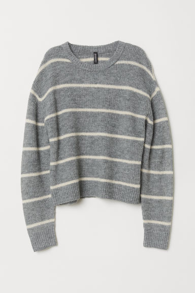 Knitted jumper - Grey/White striped -  | H&M