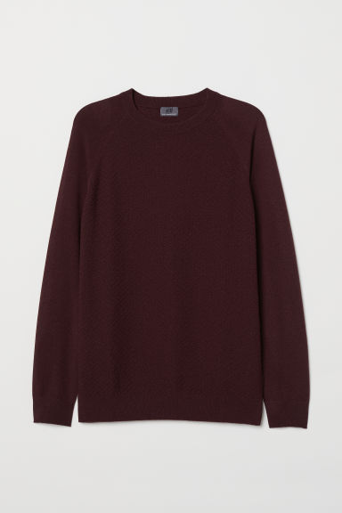 Cashmere-blend jumper - Burgundy - Men | H&M