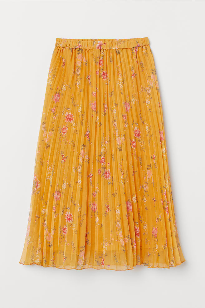 79f087ac1e ... Pleated skirt - Mustard yellow/Floral - | H&M ...