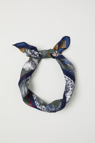 Scarf/Hairband - Dark blue/patterned - Ladies | H&M US