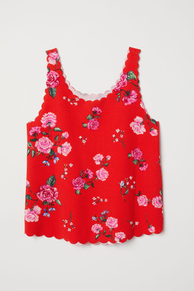 Scallop-edged Tank Top - Bright red/floral -  | H&M US