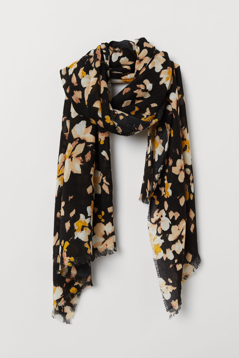 Woven scarf - Black/Floral - Ladies | H&M CN