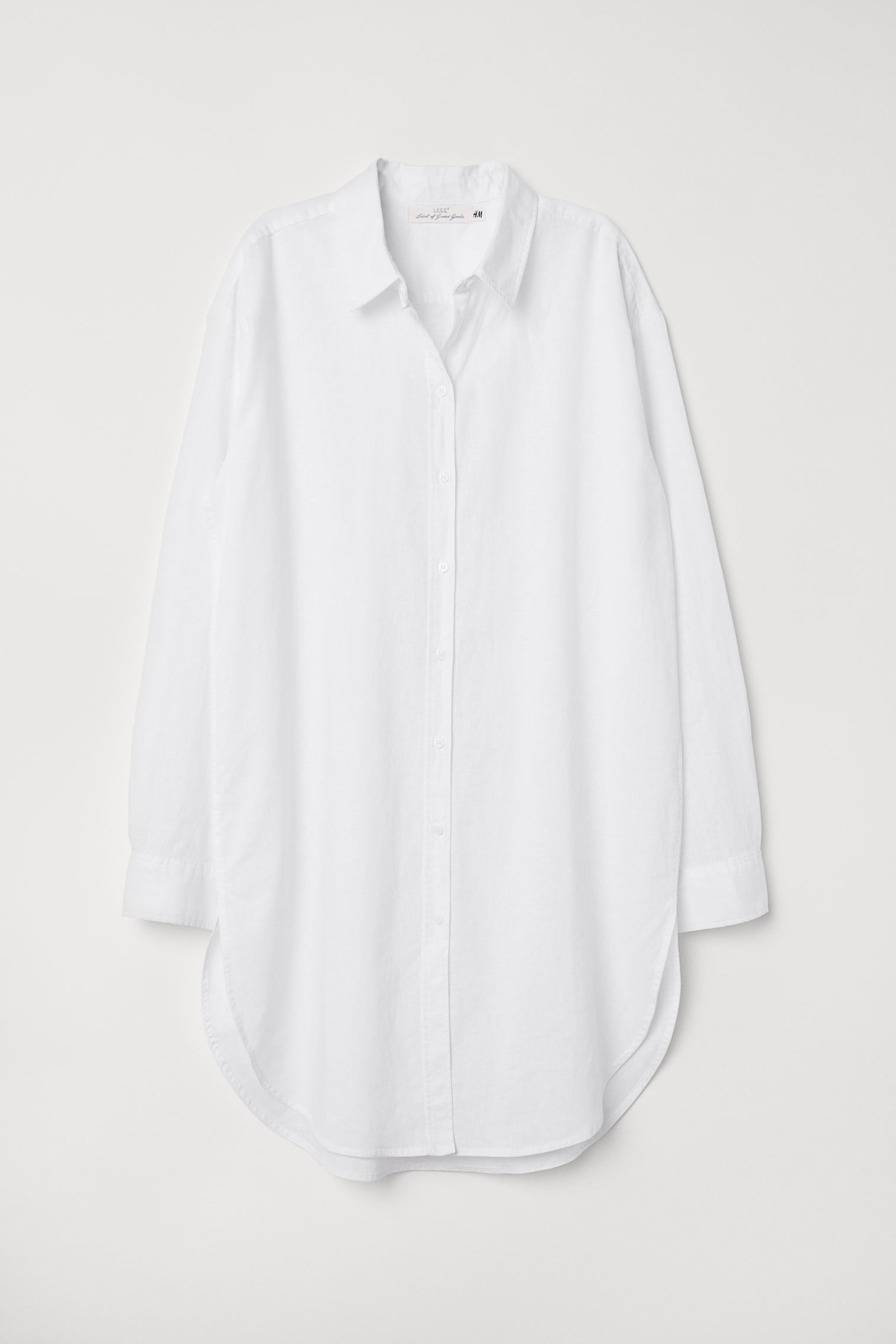 822f61d2384b Dlhá košeľa z ľanovej zmesi - biela - ŽENY