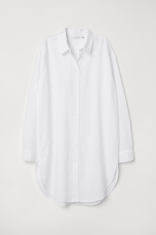 Long linen-blend shirt