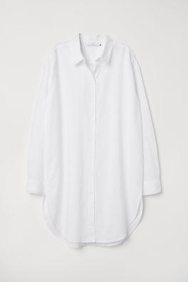 Dlouhá košile z lněné směsi 92dac9d354