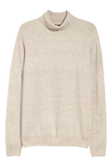 Wool-blend polo-neck jumper - Light beige - Men | H&M