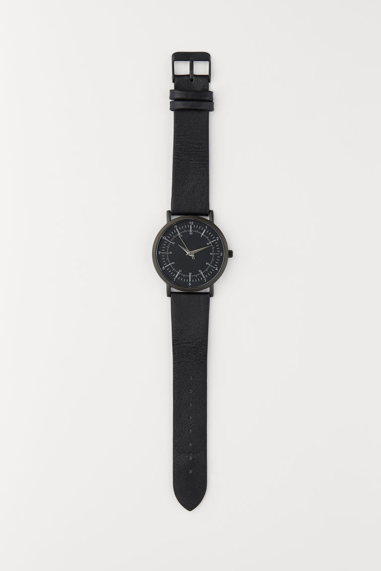 Watch with a leather strap - Black/Silver-coloured - Men | H&M CN